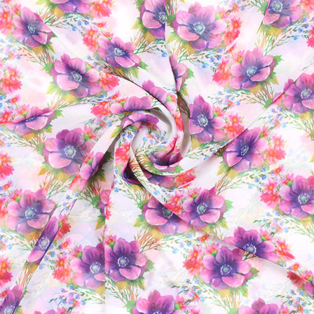 White Pink and Green Flower Georgette Silk Fabric-15104